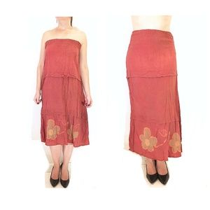 Tiered Painted Red Convertible Maxi Sun Dress